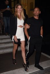 Doutzen Kroes Leggy in Mini Dress - Leaving Her Hotel in Paris, October 2015
