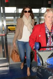 Elizabeth Hurley Airport Style - at JFK Airport in New York, October 2015