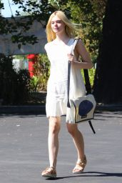 Elle Fanning in White Summer Dress - Out in Hollywood, October 2015