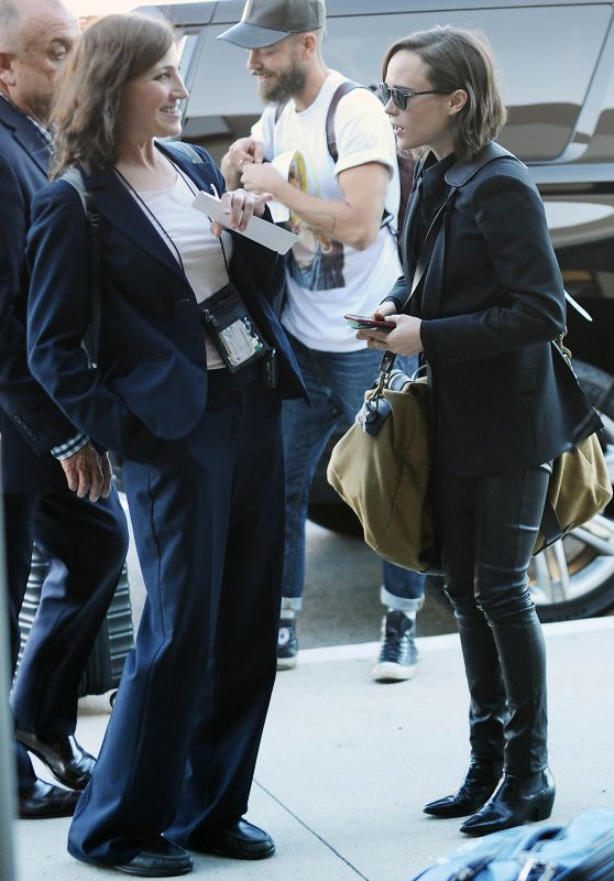 Ellen Page in Leather Pants at LAX Airport, October 2015