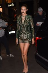Gigi Hadid in Skin-tight Mini Dress - Out in Paris, September 2015