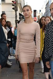 Hailey Baldwin in Mini Dress - Out in Paris, October 2015