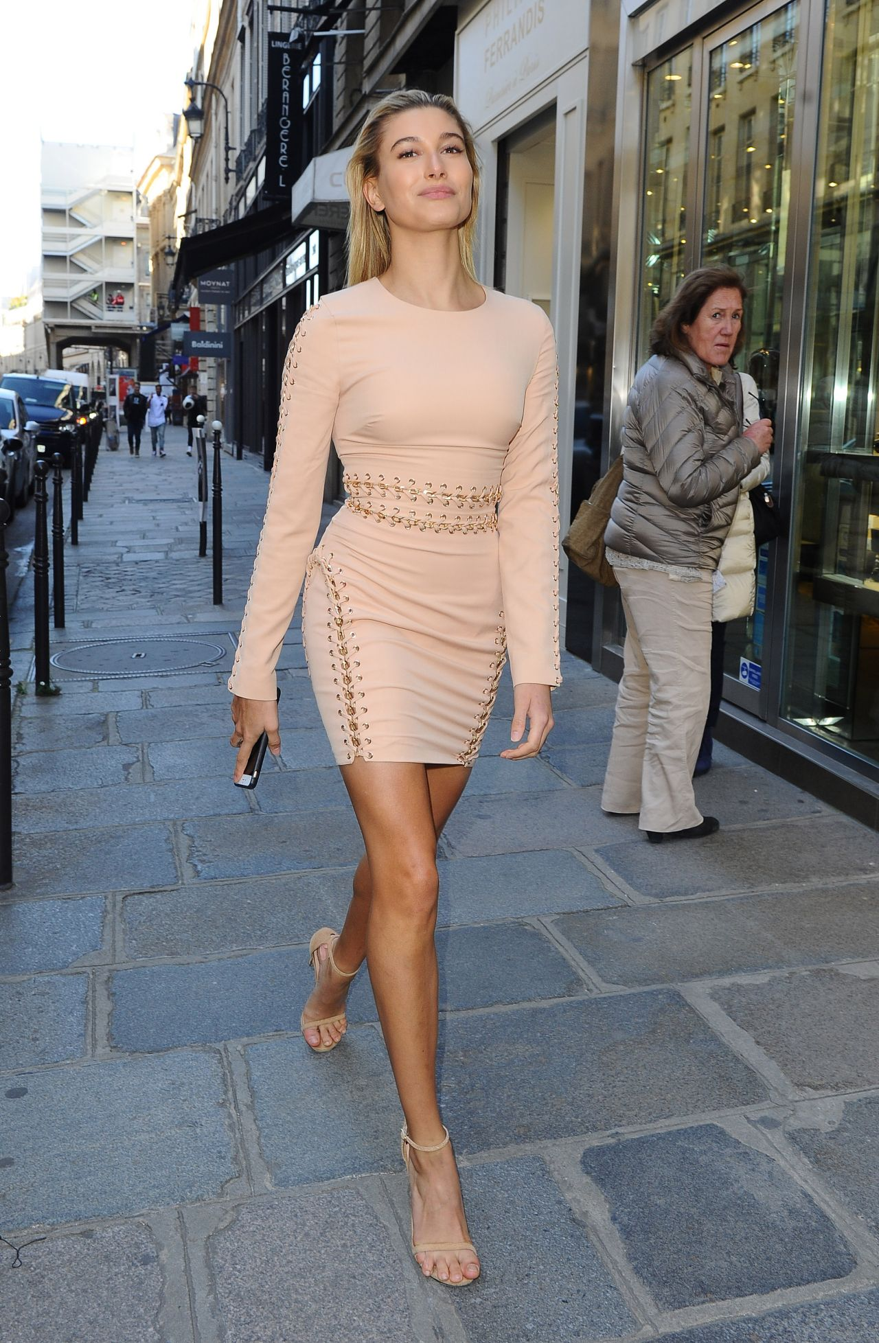 Hailey Baldwin In Mini Dress - Out In Paris, October 2015-9406