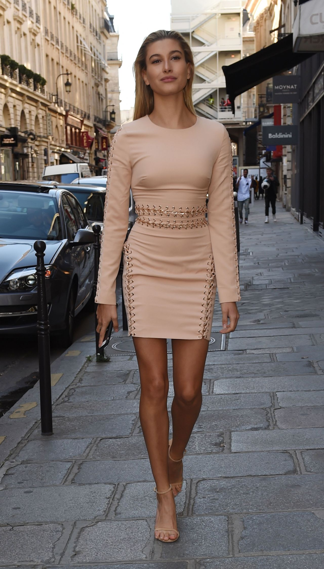 Hailey Baldwin In Mini Dress - Out In Paris, October 2015-4449