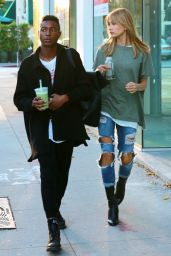 Hailey Baldwin in Ripped Jeans - Out in LA. October 2015