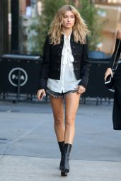 Hailey Baldwin Leggy in Jeans Shorts - New York City, October 2015