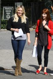 Hilary Duff and Molly Bernard - on the Set of