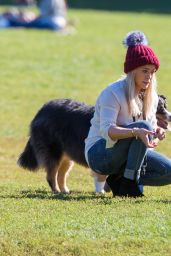 Hilary Duff at a Park Playing With Dogs in New York City, October 2015