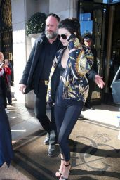 Kendall Jenner at Her Hotel in Paris, October 2015