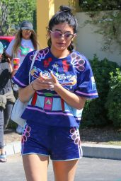 Kylie Jenner in a Colorful Outfit - Leaving Sugarfish Restaurant in Calabasas, October 2015