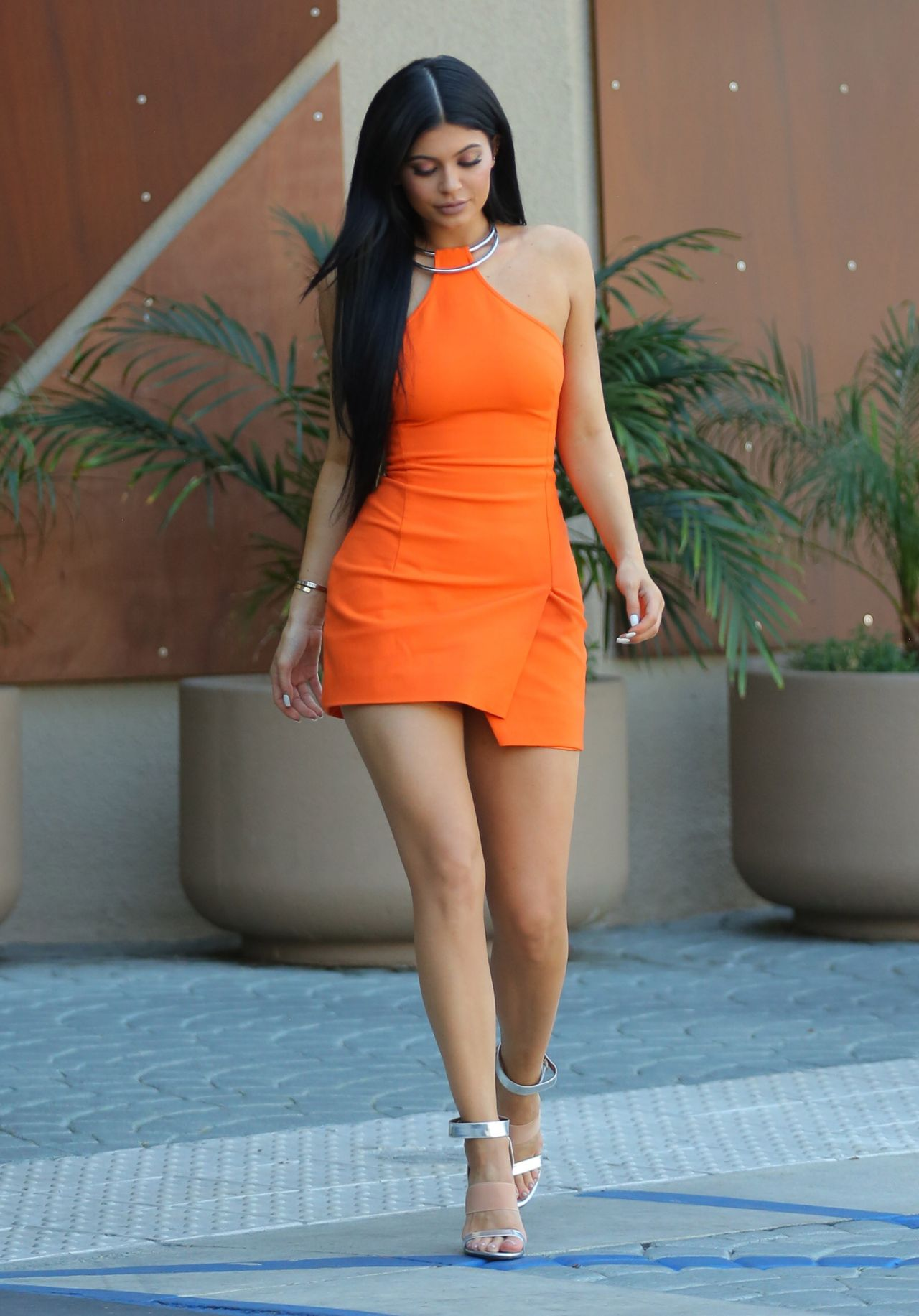 kylie jenner in kaufman fraco double ring halter dress