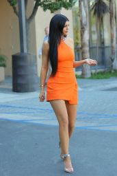 Kylie Jenner in Kaufman Fraco Double Ring Halter Dress, October 2015