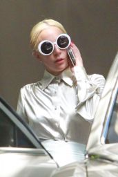 Lady Gaga - Exits Chateau Marmont in a white Rolls Royce in West Hollywood