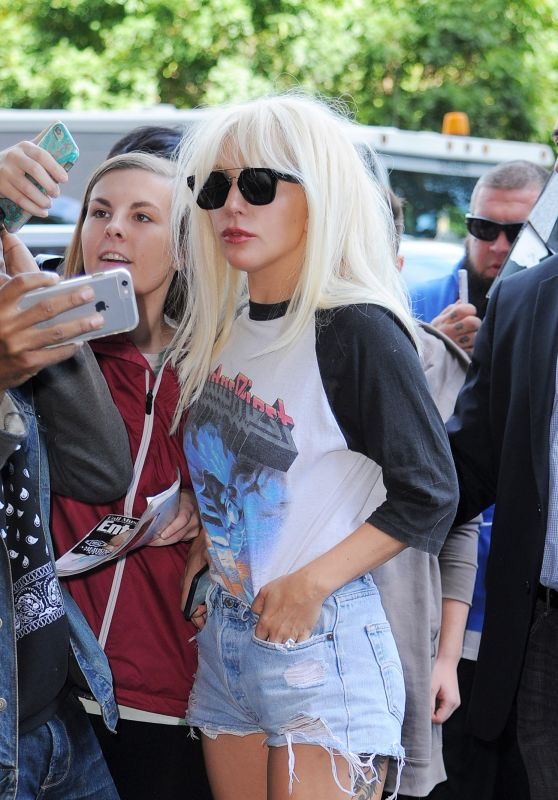Lady Gaga in Ripped Jeans Shorts - Out in New York City, October 2015