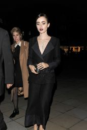 Lily Collins - Arriving at Saatchi Gallery in London, October 2015