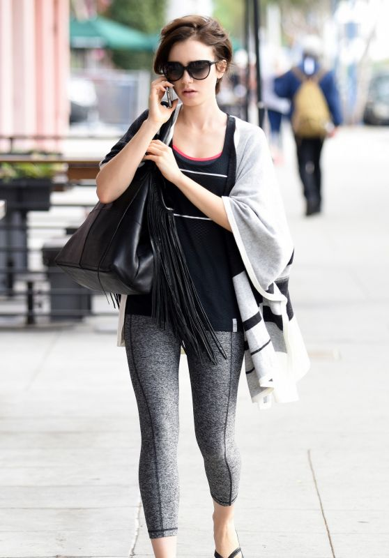 Lily Collins - Going to Gym in West Hollywood, October 2015