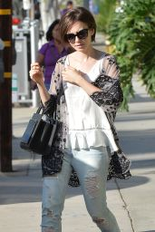 Lily Collins in RIpped Jeans - Leaving an Office in West Hollywood, October 2015