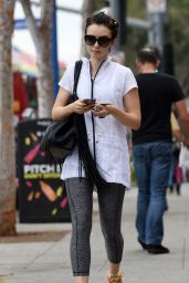 Lily Collins - Leaving a Gym in West Hollywood, October 2015