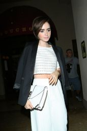 Lily Collins - Leaving Vogue Magazine Dinner Party in Los Angeles, October 2015