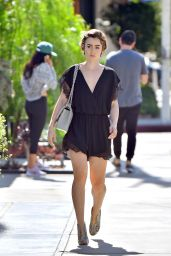 Lily Collins Leggy in Mini Dress - West Hollywood, October 2015
