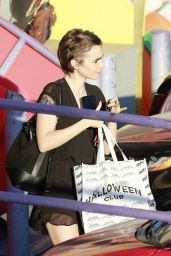 Lily Collins Shopping for Halloween Costumes in West Hollywood, October 2015