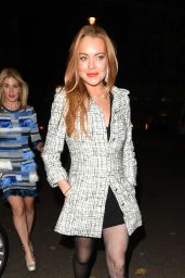 Lindsey Lohan - Leaving Mortons in Maifair, October 2015