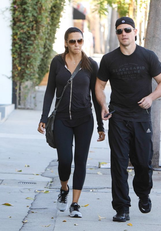 Luciana Barroso & Matt Damon - Leaving Their Gym in Los Angeles, October 2015