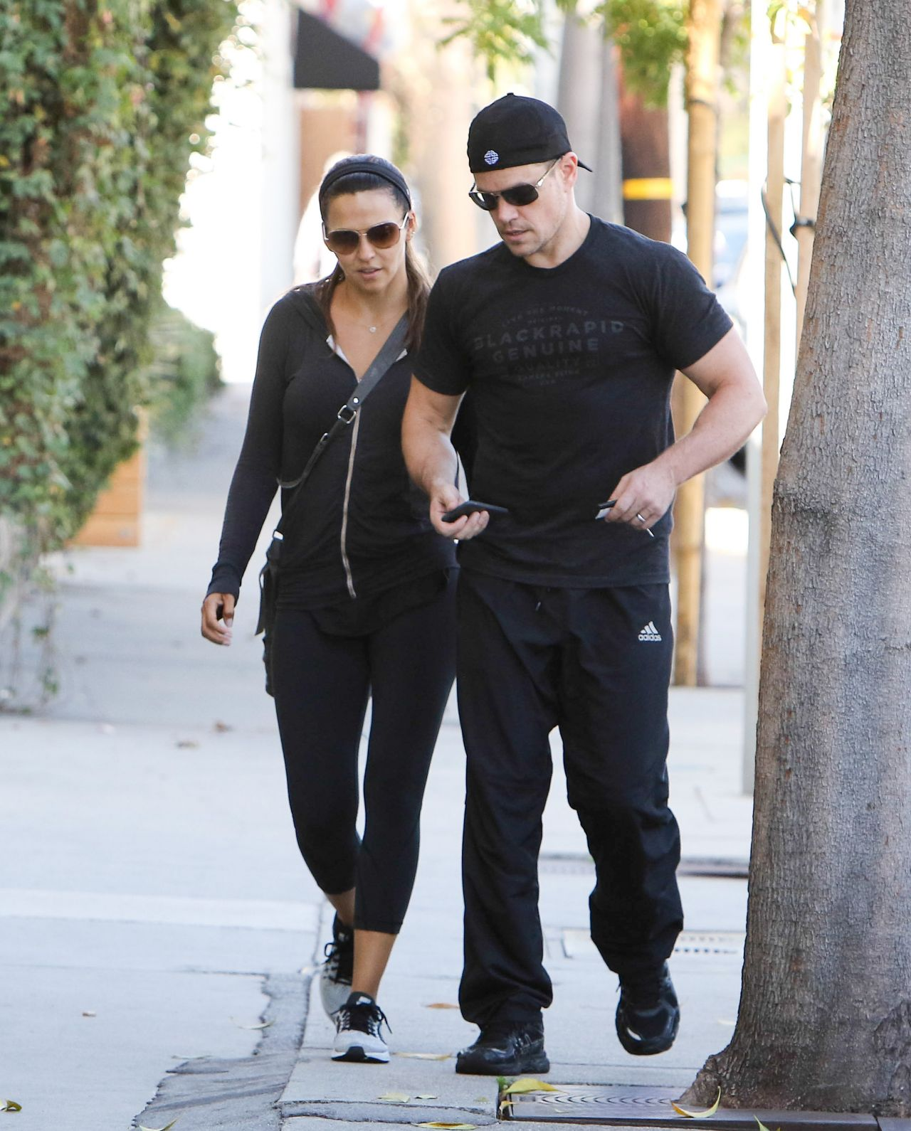 luciana barroso amp matt damon leaving their gym in los