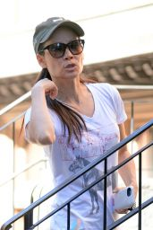 Lucy Liu - Walking Her Dog and Then Heading to the Gym in NY, October 2015
