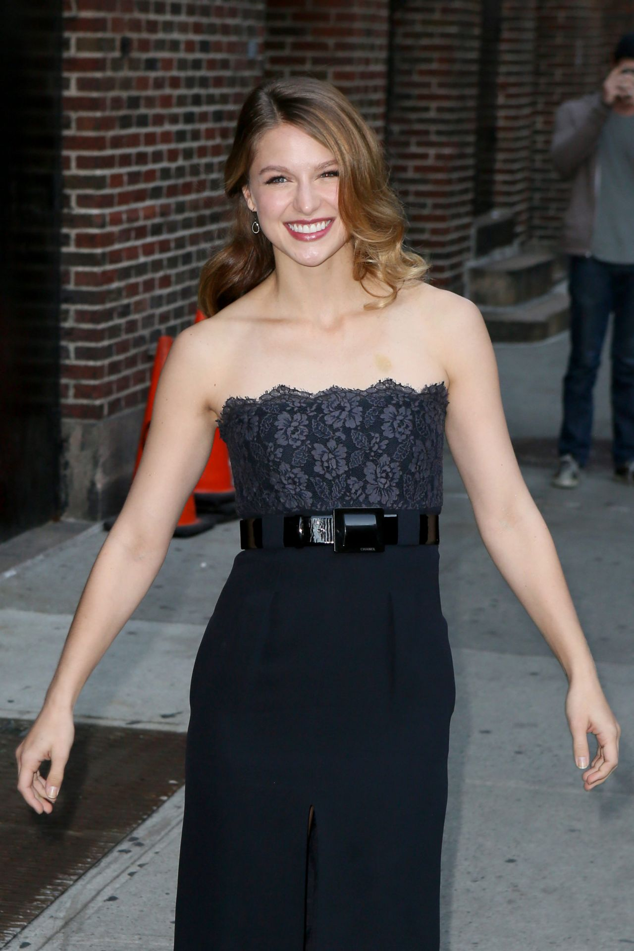 Melissa Benoist Outside The The Late Show With Stephen