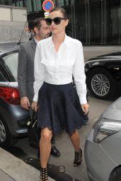 Miranda Kerr in Mini Skirt - Out in Paris, October 2015