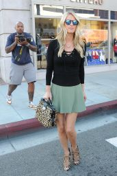 Nicky Hilton Rothschild in a Green Mini-Skirt in Beverly Hills - October 2015