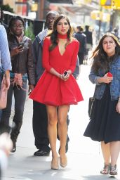 Olivia Culpo in Red Dress - Out in Tribeca, October 2015