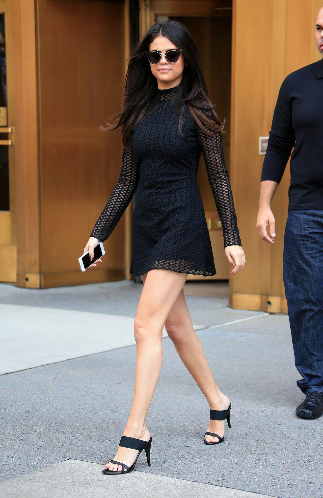 Selena Gomez Hot In Mini Dress Leaving Her Hotel In Nyc