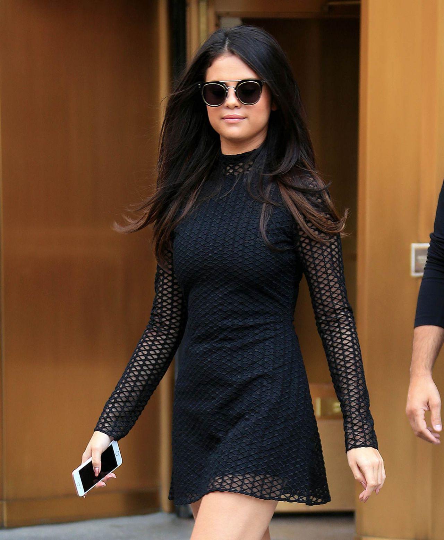 Selena Gomez Hot in Mini Dress - Leaving Her Hotel in NYC ...