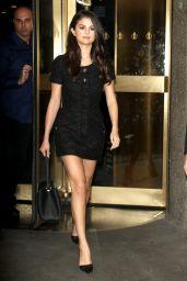 Selena Gomez Leggy in Mini Dress - Leaving NBC Studios in New York City, October 2015