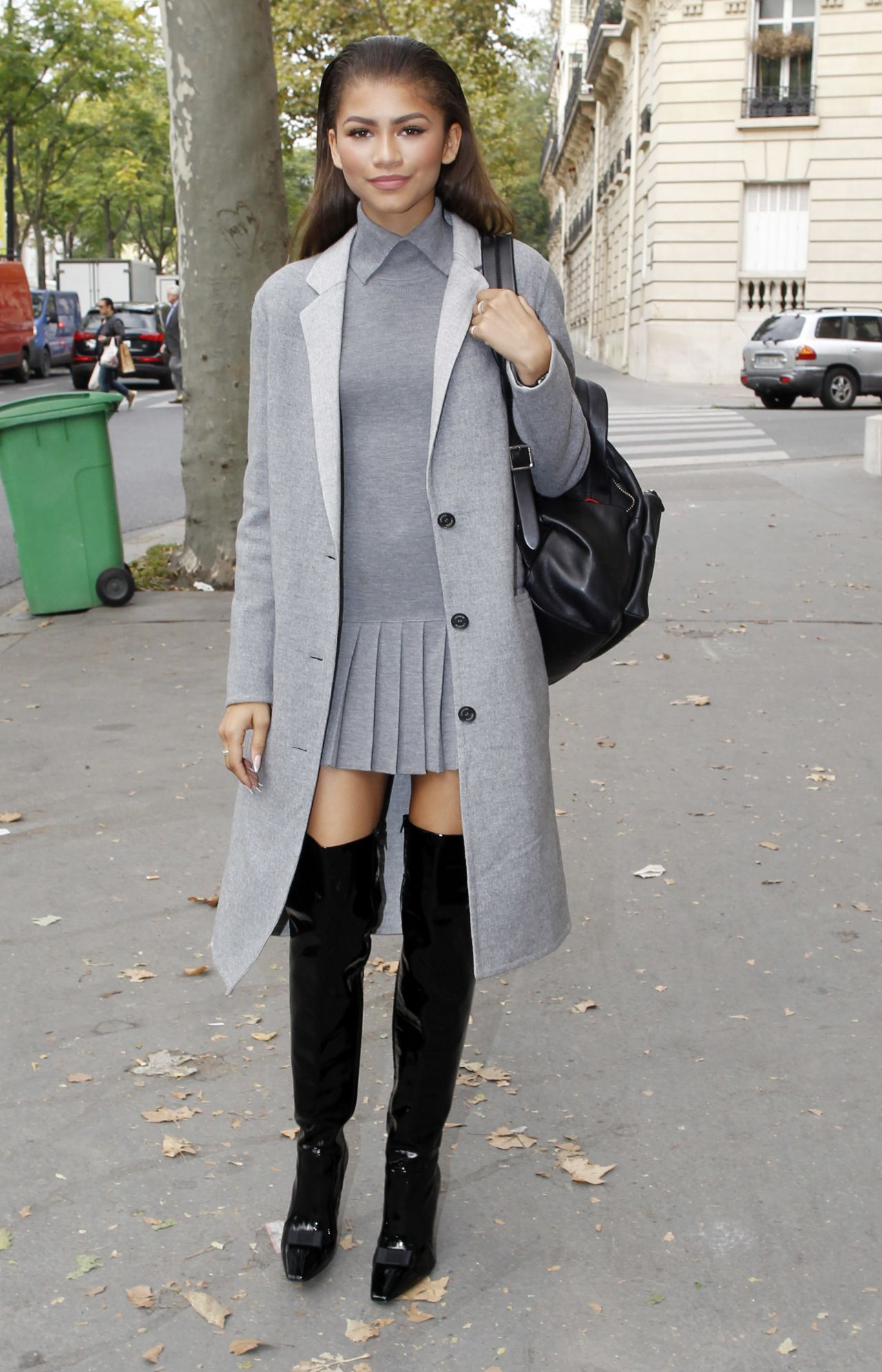 zendaya street fashion out in paris october 2015