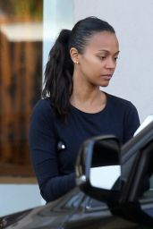 Zoe Saldana - Leaves a Studio at Melrose Ave in West Hollywood, October 2015
