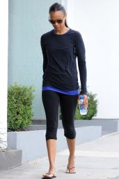 Zoe Saldana - Leaving a Gym in West Hollywood, October 2015