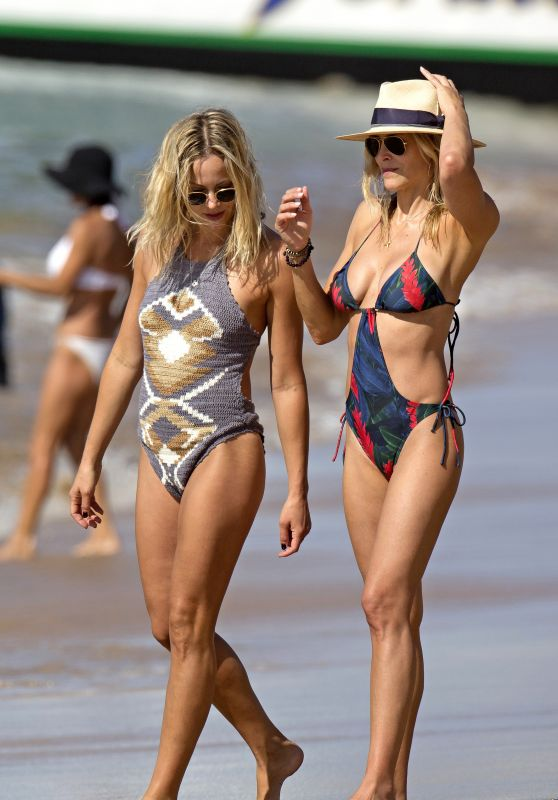 Brittany & Cynthia Daniel in a Swimsuits - Twins on a Beach in Hawaii, November 2015