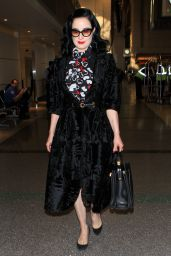 Dita Von Teese Looking Elegant in Black Crushed Velvet and Heart Scarf  - LAX Airport, November 2015