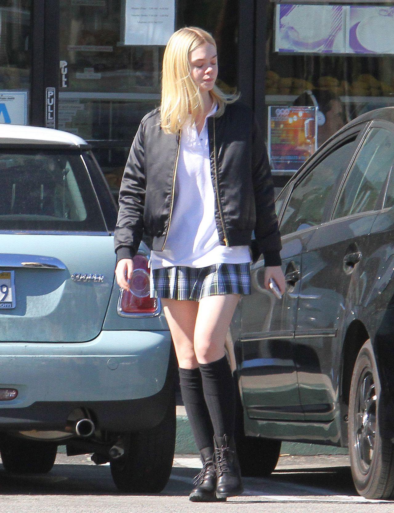 Elle Fanning Leggy In Mini Skirt Out In La November 2015