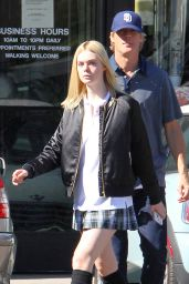 Elle Fanning Leggy in Mini Skirt - Out in LA, November 2015