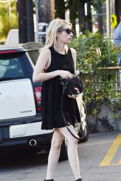 Emma Roberts in Black Mini Dress - Out in Los Angeles, November 2015