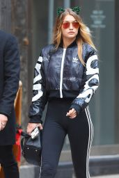 Gigi Hadid - Wearing Green Ears and Adidas Workout Gear on Halloween in New York City