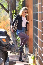 January Jones Leggy in Shorts - Shopping in LA, november 2015
