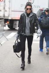 Kendall Jenner - Wearing all-black and an Extra Long Grey Wweatshirt as she Enters the Victoria Secret Rehearsal Show in New York, November 2015