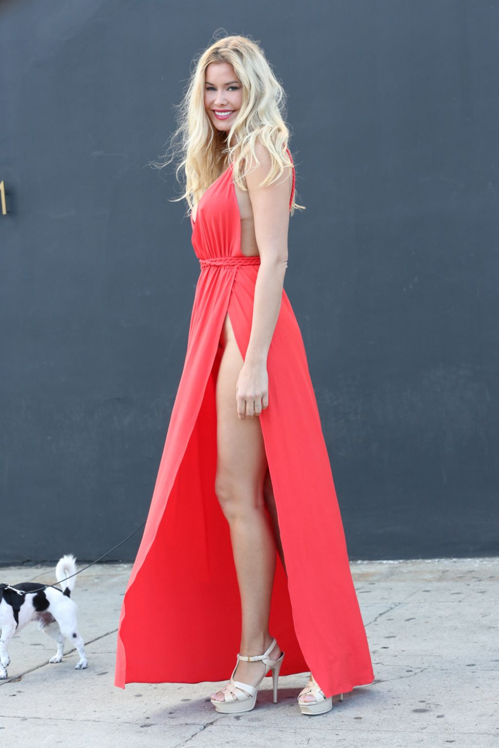 Kennedy Summers Walking With Her Dog In Hollywood