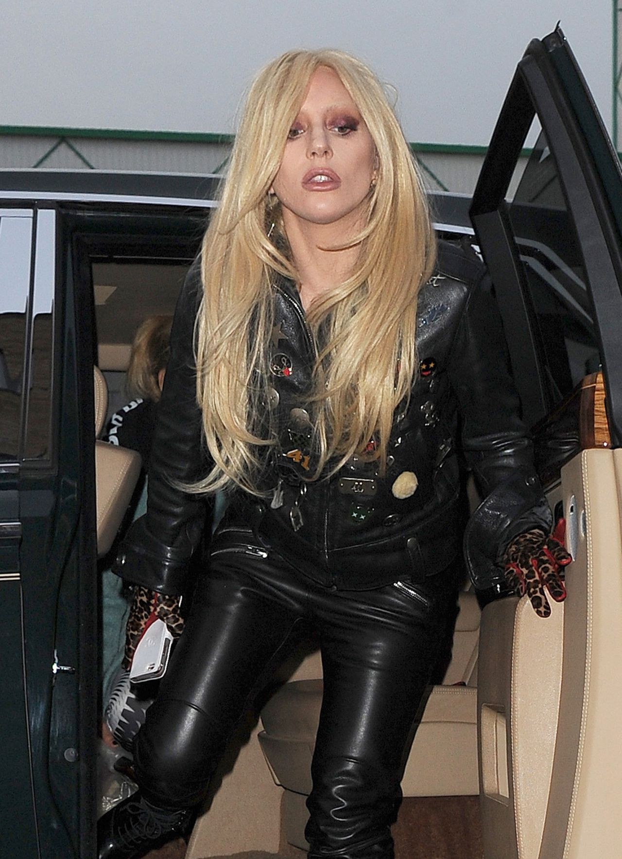 Lady Gaga In Leather Outfit Arrives At A Recording