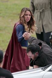 Melissa Benoist - On the Set of Supergirl in Los Angeles, October 2015